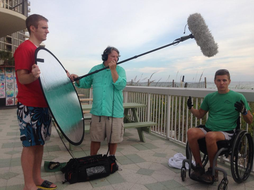 Matt and Brooks filming interview with Joe on the beach in Florida