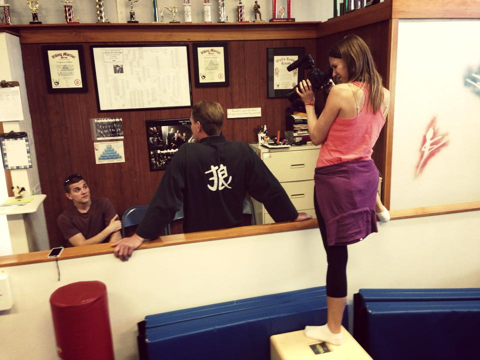Angelina filming Joe and Eric at Frenchtown Fitness